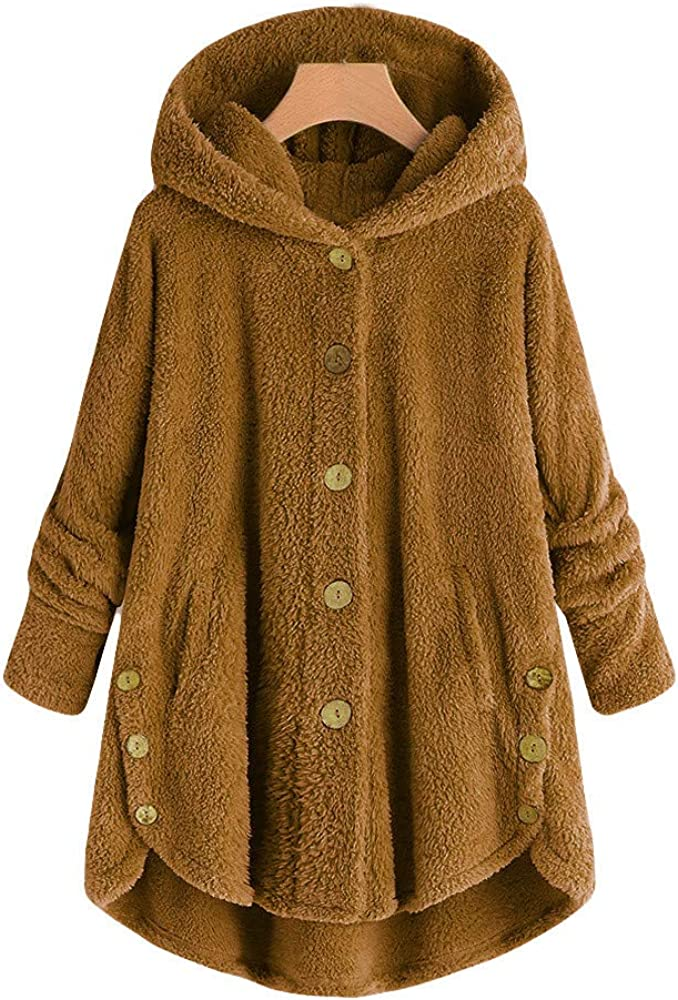 Womens Button Hooded Coat Fluffy Tail Warmth Outwear OldSch001 Winter Coats for Women