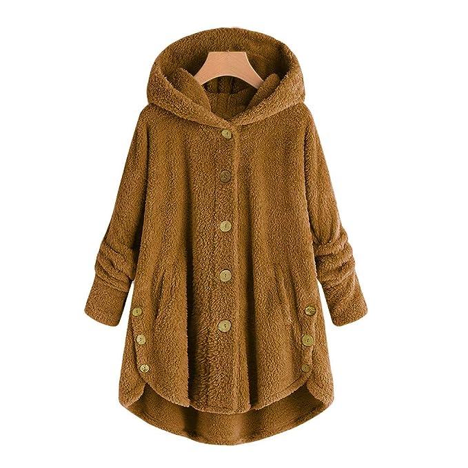 JUTOO Botón de Moda para Mujer Abrigo de Cola mullida Tops Sudadera con Capucha Suéter Suelto: Amazon.es: Ropa y accesorios