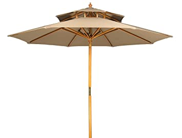 Exceptionnel Trademark Innovations 9u0027 Wood 2 Tier Pagoda Style Patio Umbrella ...