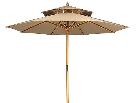 Trademark Innovations 9u0027 Wood 2 Tier Pagoda Style Patio Umbrella ...