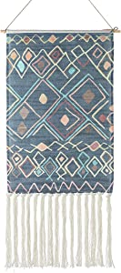 Macrame Woven Wall Hanging Tapestry, Indian Boho Chic Bohemian Aztec Home Decor Multicolour Geometric Art Decor Boho Backdrop, Beautiful Apartment Dorm Room Door Decoration, 17.3