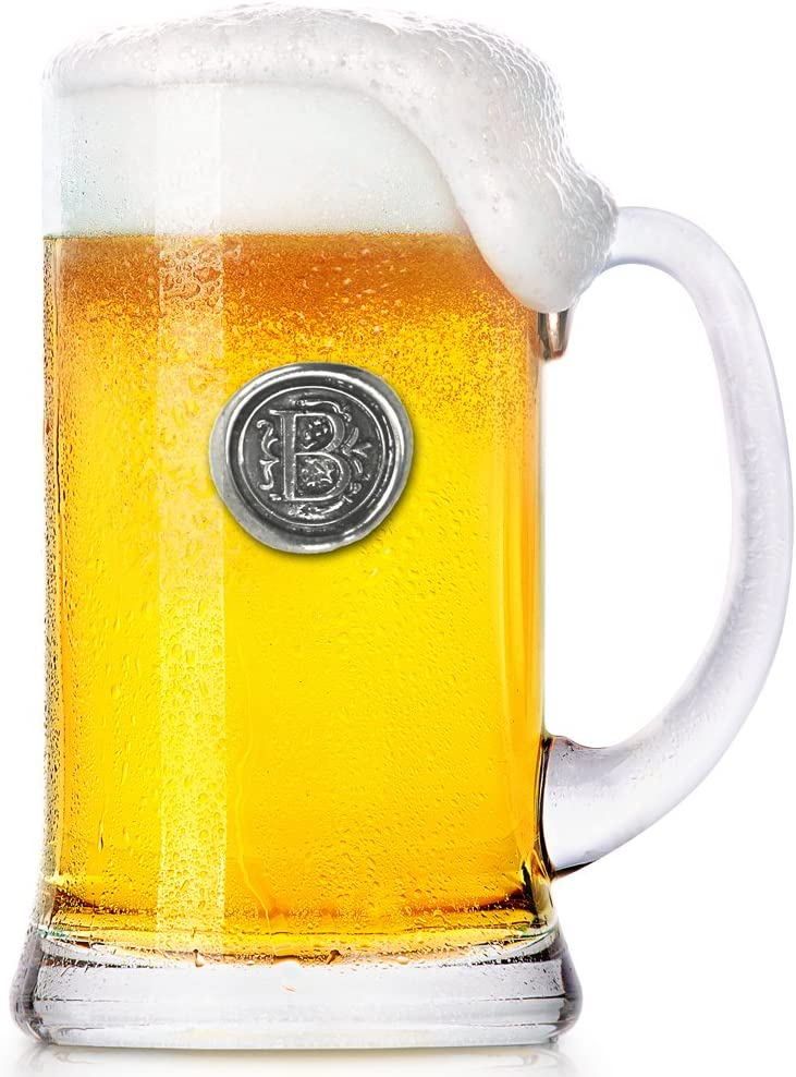 English Pewter Company 1 Pint Monogram Initial Beer Mug Glass Tankard - Unique Gifts For Men - Personalized Gift With Your Choice Of Initial (B) [MON002]