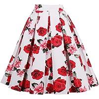 Yotown Falda de Rockabilly para Mujer, Falda de Verano Falda Plisada hasta la Rodilla, Falda de Tela, Falda Plisada Elegante de A-Line Falda de Cintura Alta para Rodilla, S-XXL