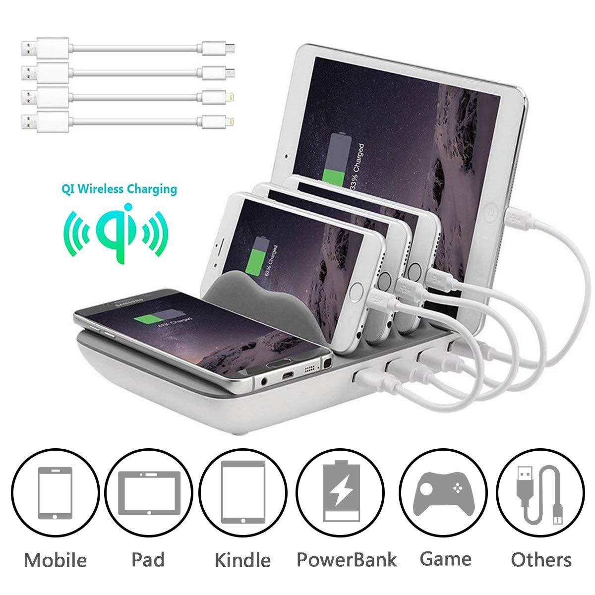 Charging Station Compatible con iOS,Android KidsHobby Estaci/ón de Carga USB con 4 Puertos con Qi Cargador Inalambrico Base de Carga para iPhone X//iPhone 8//7s//6s,Samsungs,Huawei,Tabletas