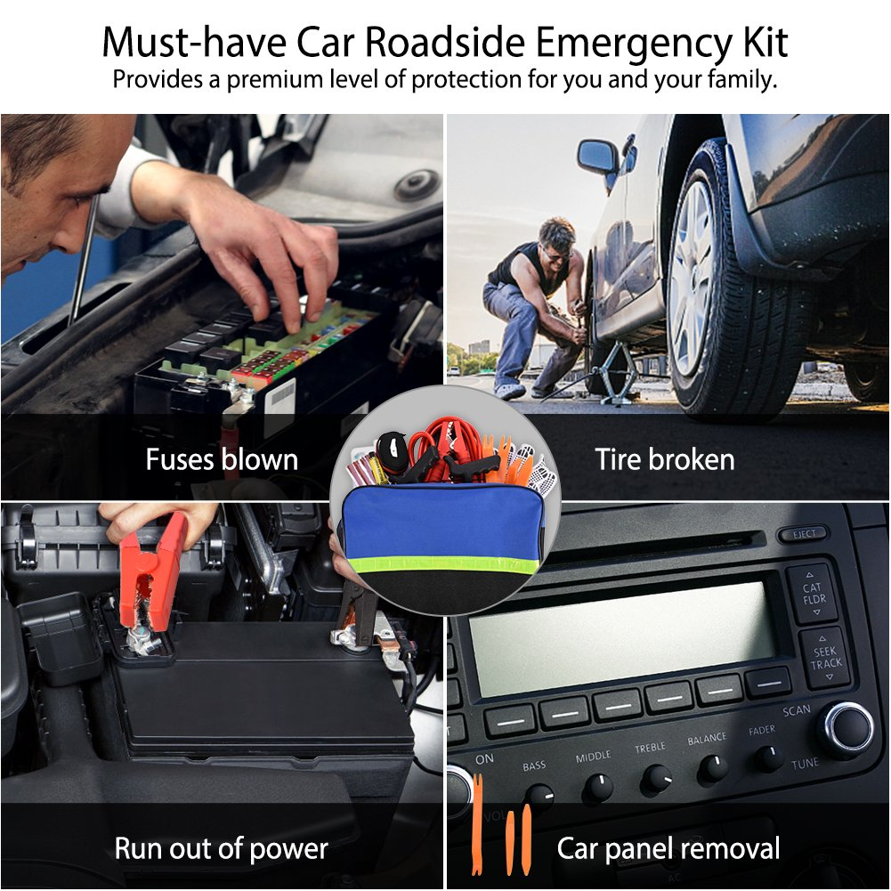 Auto Assistance Emergency Kit with 12ft 150A Jumper Cable 30PCS Fuses for Truck Battery Test Pen SUV Tire Repair kit Panel Removal Tool EBTOOLS Roadside Car Emergency Kit Anti-slip Gloves Car