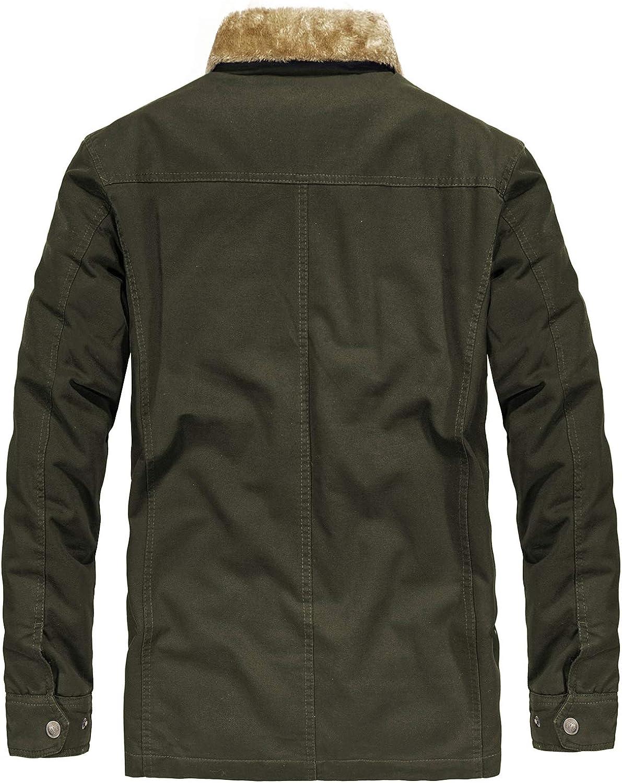 Mens Winter Thicken Coat Warm Fur Collar Trucker Jacket