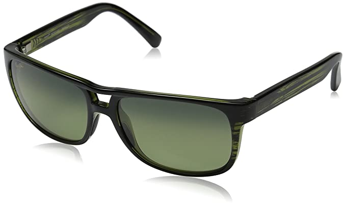 e55600a2b7dd8 Image Unavailable. Image not available for. Colour  Maui Jim HTS267-15C  Olive Stripe Waterways Wayfarer Sunglasses Polarised Drivin