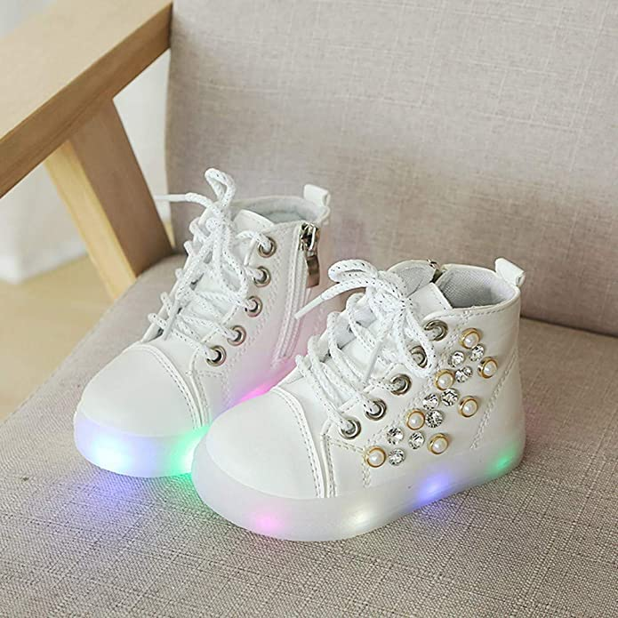 Amazon.com | OCEAN-STORE Children Baby Girls 12 Months-6T Pearl Crystal Led Light Sport Shoes Blue | Sneakers