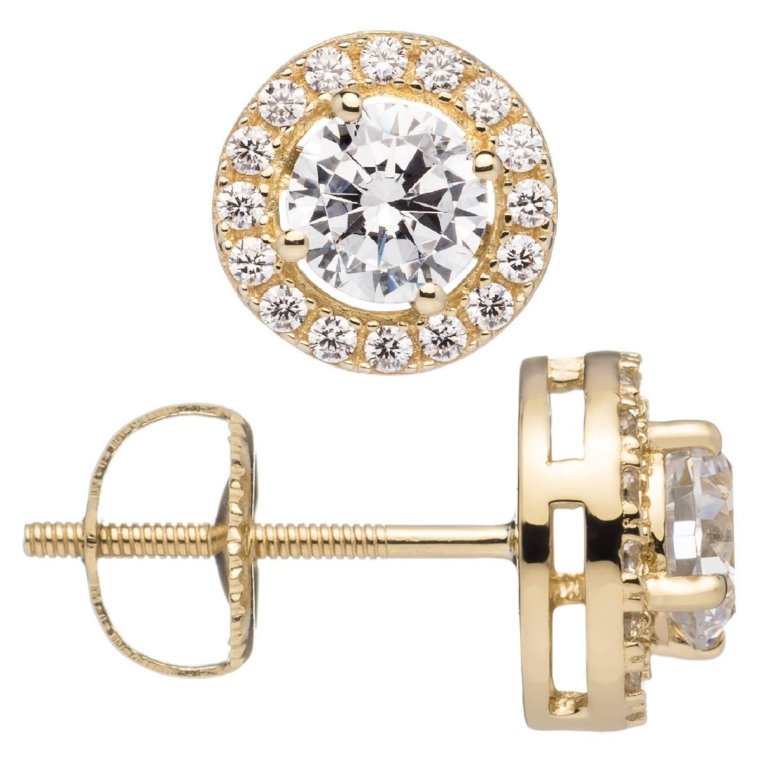 Everyday Elegance | 14K Solid Yellow Gold Stud Earrings | Round ''Halo'' Cubic Zirconia | Screw Back Posts | .48 ct center, .60 cttw each, 1.20 cttw | With Gift Box