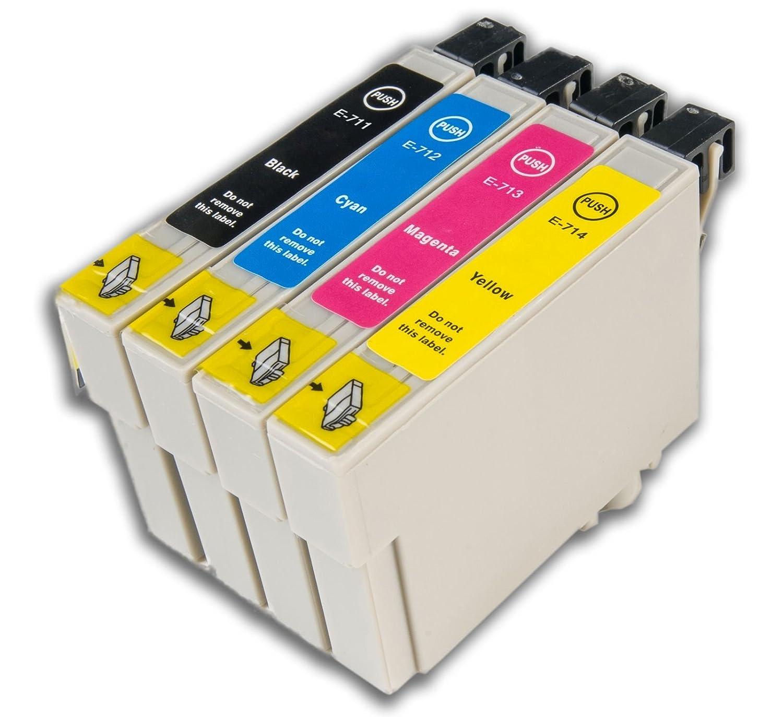 4 Cartuchos de Tinta Chip Compatibles con Epson T0711-4 (T0715 ...