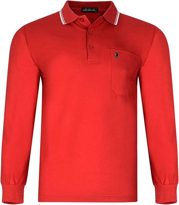 Paradise Mens Polo Shirt Long Sleeved Pique TOP with Golfer Badge
