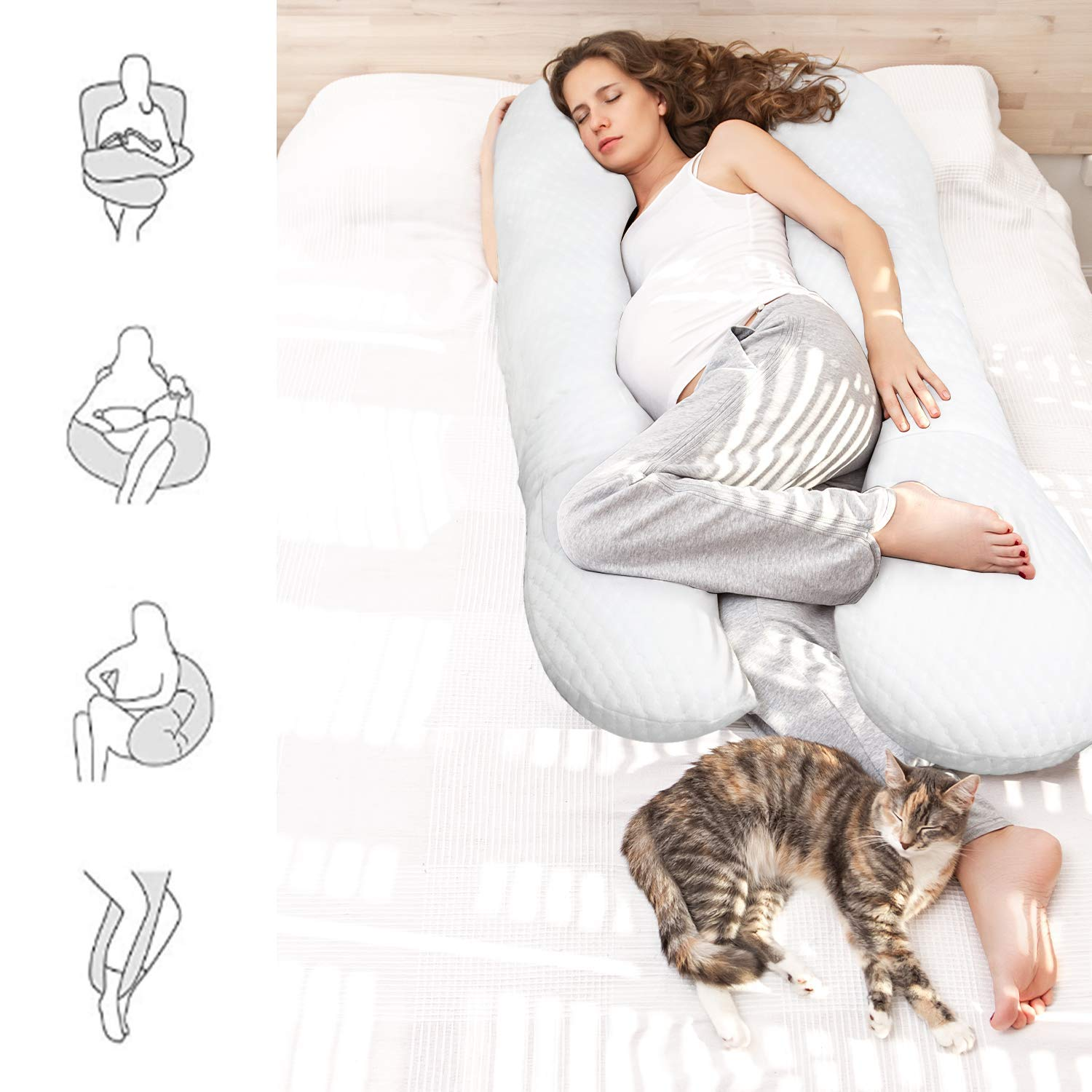 Best Pregnancy Gifts White Maternity Pillow with Removable Washable Bamboo Fiber Pillow Cover and Adjustable Velcro Belt bable 59 U Shaped Pregnancy Pillow- Full Body Pillow for Pregnant Women