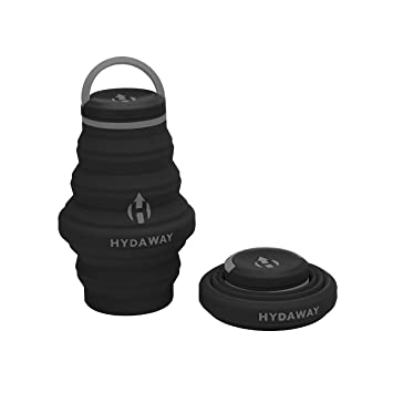 Hydaway Collapsible Water Bottle, 18oz, Cap Lid | Ultra Packable, Travel Friendly, Food Grade Silicone by Hydaway