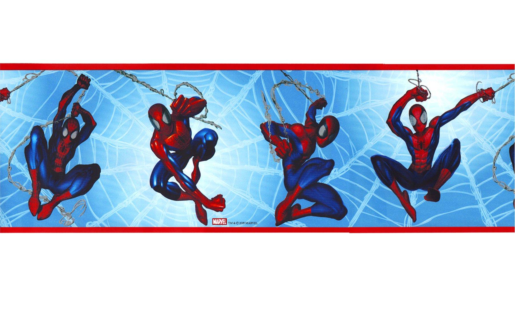 Spiderman Wallpaper Border - Marvel Comics Blue Prepasted Wall Border