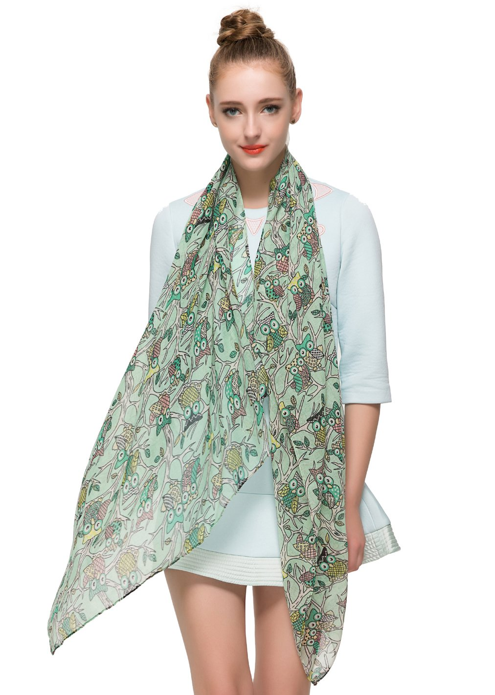 HUAN XUN Soft Lightweight Cartoon Owl Print Animal Infinity Loop Scarfs Mint Green NL-2544 - F Mint Green