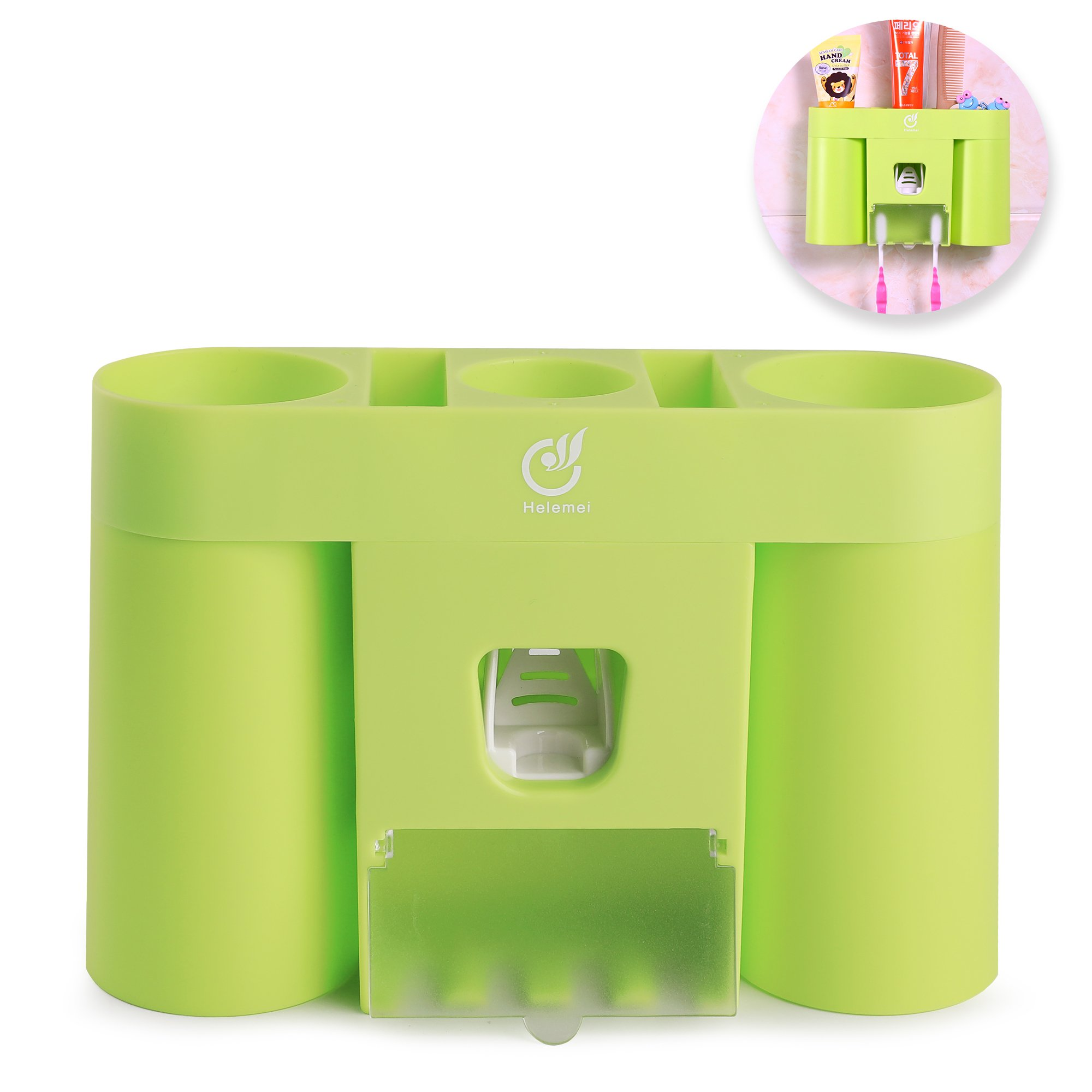Wall Mounted Toothbrush Holder with Dustproof Cover, 2 Suction Cups, Automatic Toothpaste Dispenser Squeezer for Dental Oral Care Bathroom Accessories Storage Organizer Set (Grass green)