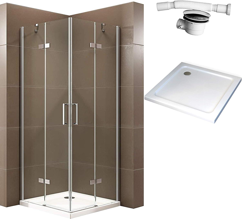 Bernstein Badshop EX809 - Mampara de ducha con puerta giratoria (mecanismo de elevación nano, cristal de seguridad ...