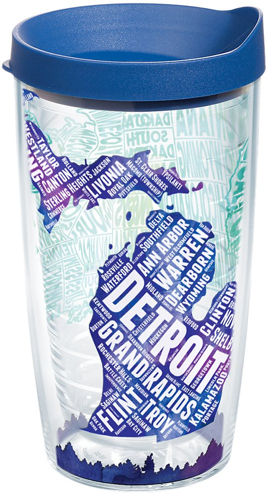 Tervis 1224057 Michigan Typography Map Insulated Tumbler with Wrap and Blue Lid 16oz Clear