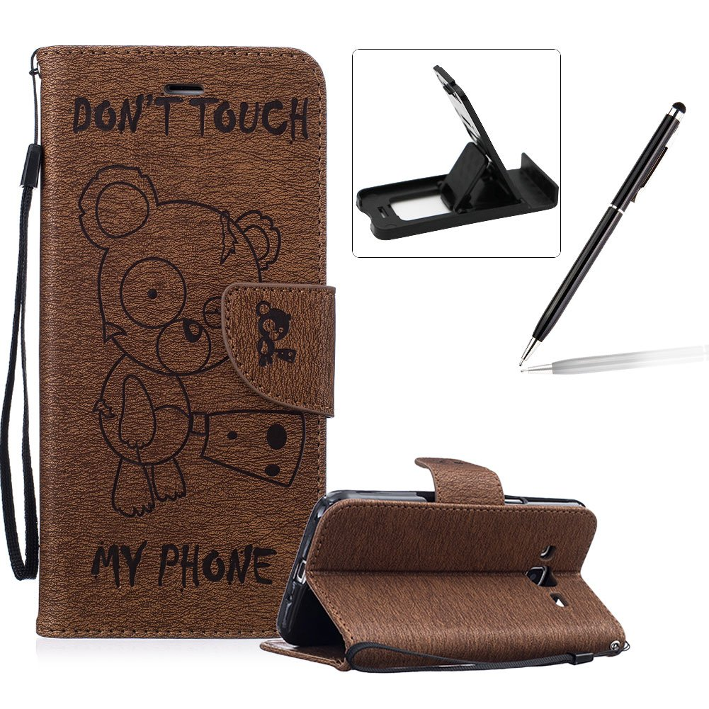 Case For Samsung Galaxy J3 2016, Smart Case for Samsung Galaxy J3 2016, Herzzer Stylish Cute Bear Don't Touch My Phone Design PU Leather Wallet Case Stand Flip Case with Credit Card Slot for Samsung Galaxy J3 2016, Brown