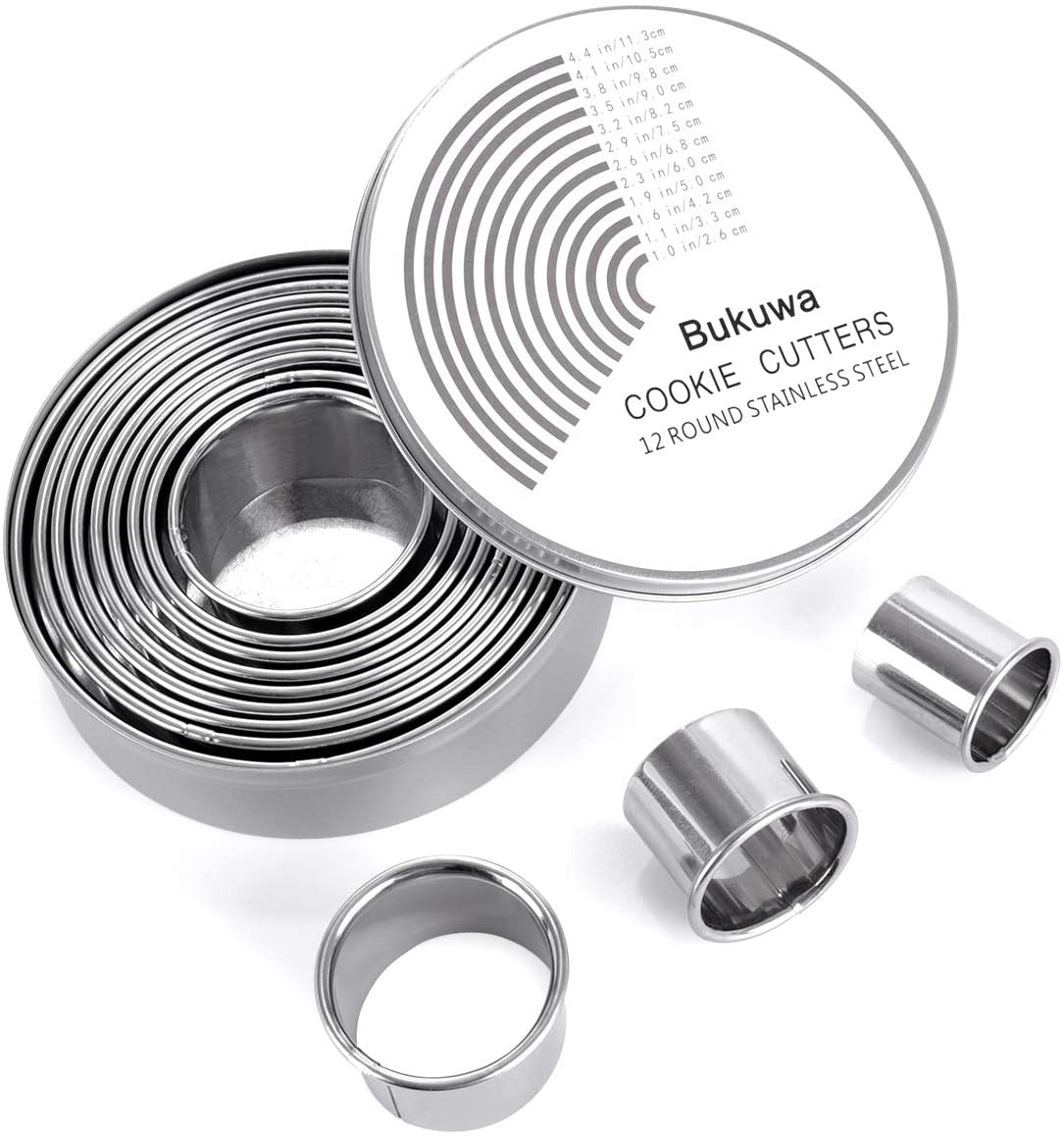 12 Pieces Round Cookie Biscuit Cutter Set,Graduated Circle Pastry Cutters,18//8