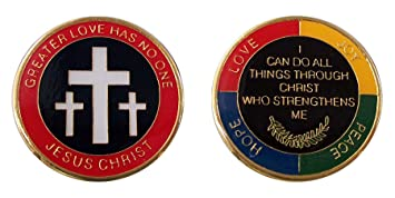 Religious Coin Greater Love Has No One Challenge Coin Logo Metal Lucky Chips & Gift
