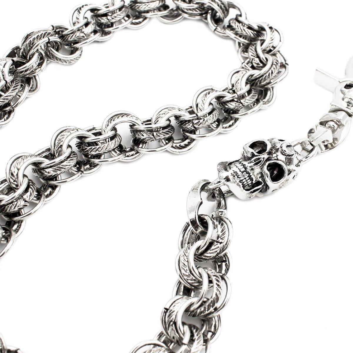 305e270e2b35 Amazon.com: Uniqsum Fire Skull charm Vintage Ring links wallet chain ...