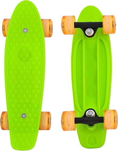 Cyboard 17inchX5inch Mini Skateboard, Mini Cruiser Board with High Bounce PU Wheel Green