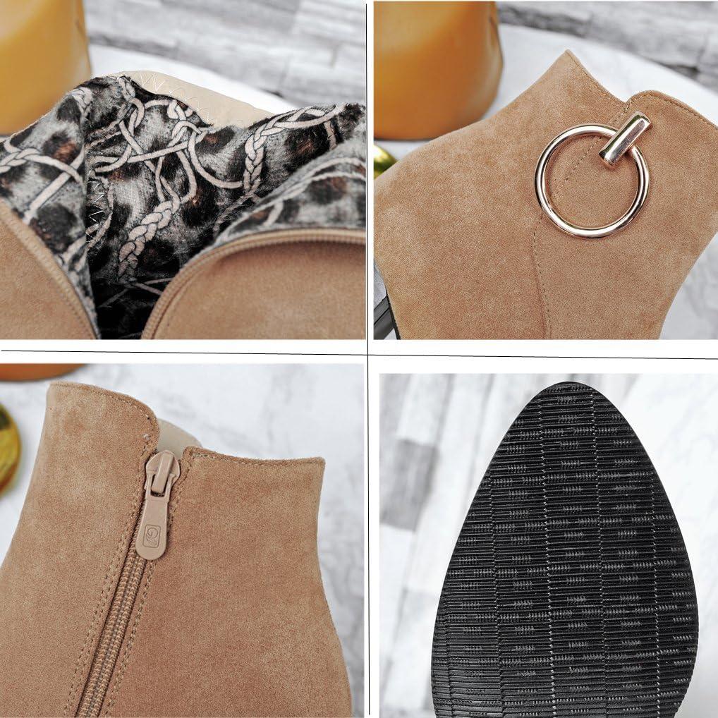 Oaleen Bottines Chelsea Femme Hiver Talon Moyen Anneau Effet Daim Chaussures Boots Cheville Soir/ée