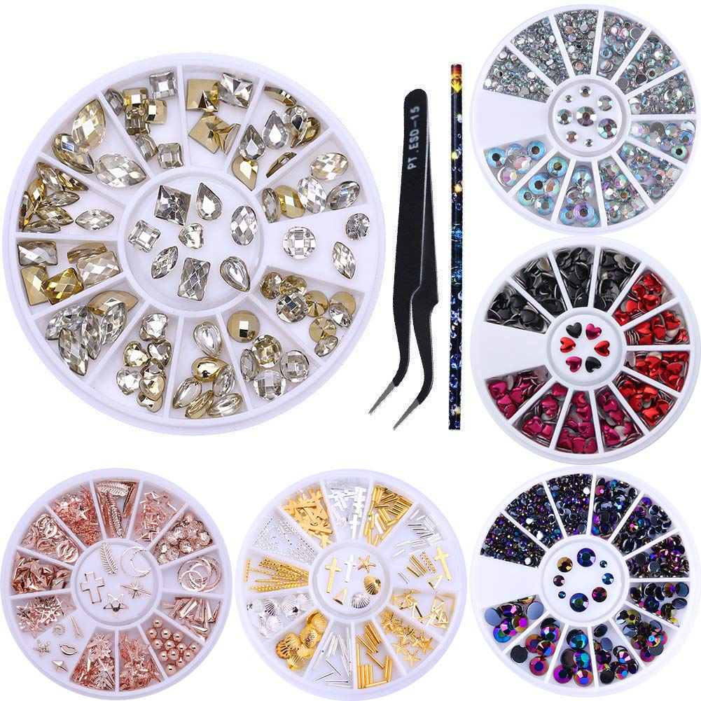 NICOLE DIARY 3D Nail Art Rhinestones Kit Colorful Crystal Beads Marquise Flat Bottom Square Resin Opal Diamond Decoration in Wheel with Wax Pen Rhinestone Studs Picker Nail Art Tool (set 5)