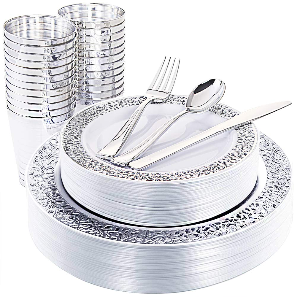 WDF 25Guest Silver Plastic Plates with Disposable Plastic Silverware&Silver Rim Cups- include 25 Dinner Plates, 25 Salad Plates,25 Forks, 25 Knives, 25 Spoons&25 Plastic Cups