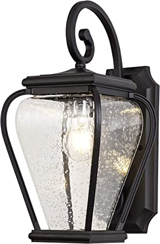 GZBtech Large Outdoor Wall Lantern Sconce of Rustic French Style, Waterproof Black Wall Lighting with Seed Glass Shade for Porch Patio Yard Decor, 110V ELT Listed, NO Bulb Included