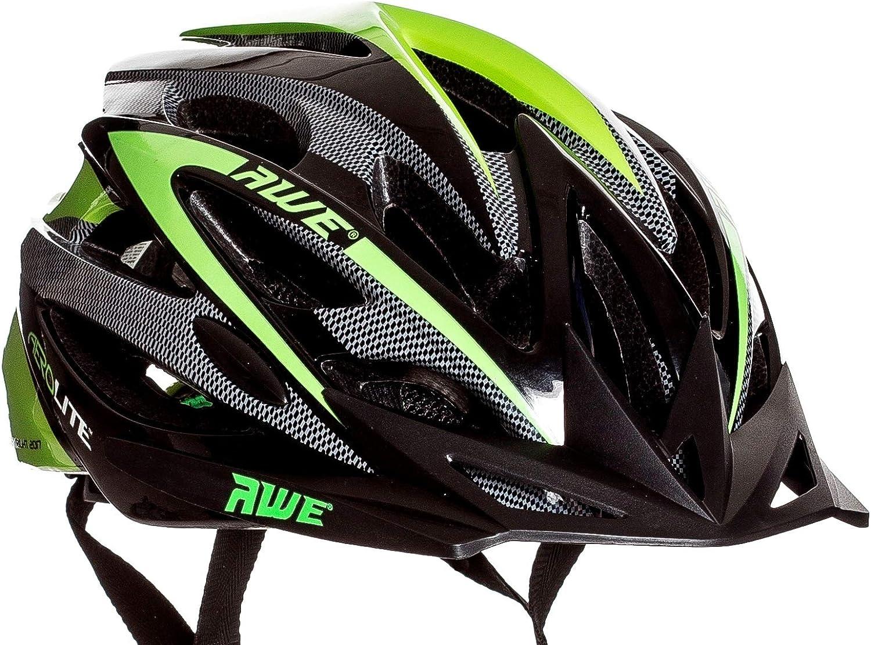 AWE AeroLite FREE 5 YEAR CRASH REPLACEMENT Men s Bicycle Helmet – Black Green, Size 56-58