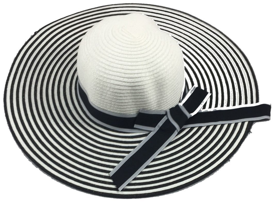 Wide Brim Large Stripped with Bow Floppy Summer Straw Sun Hat Headwear