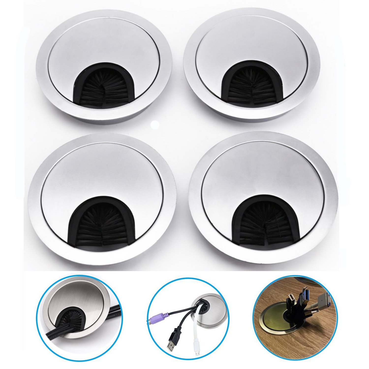 4pcs Desk Cable Tidy Computer Desk Cable Tidy Box Table Cable Organiser Grommet Desk Surface Port Hole Covers 80MM