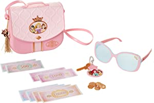 Disney Princess Style Collection World Traveler Purse Set Bag with Strap, Sunglasses, Key with Charm, 5 Coins & 8 Paper Bills for Girls Ages 3+