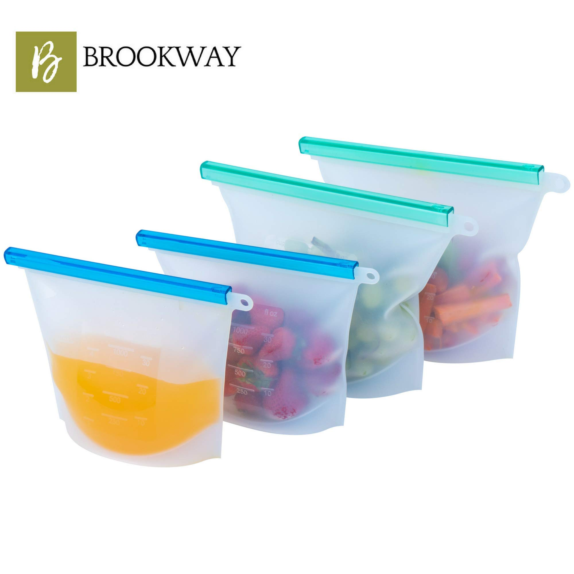 BROOKWAY Reusable Silicone Food Storage Bags | (4-Pack) 2 Large & 2 Small | Airtight Ziploc Seal Bags Leakproof | Meal Prep, Snack Bags, Sandwich, Leftovers, Travel, Sous Vide | Microwave, Dishwasher