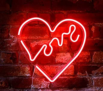 Isaac Jacobs 14 X 14 Inch Led Neon Red Love Heart Wall Sign For Cool Light Wall Art Bedroom Decorations Home Accessories Party And Holiday Decor Powered By Usb Wire Heart Amazon Co Uk