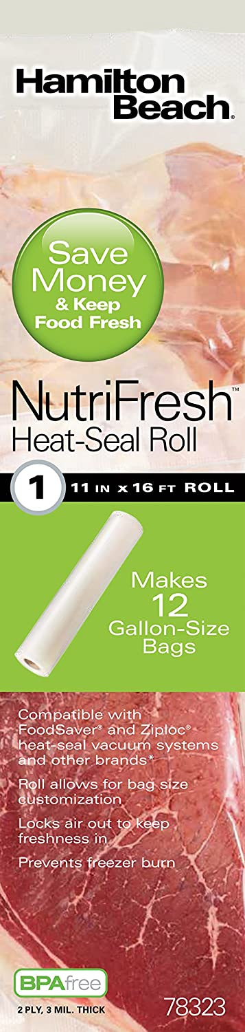 Hamilton Beach Vacuum Sealer, 11 in x 16 ft Roll for NutriFresh, FoodSaver & Other Heat-Seal Systems (78323)