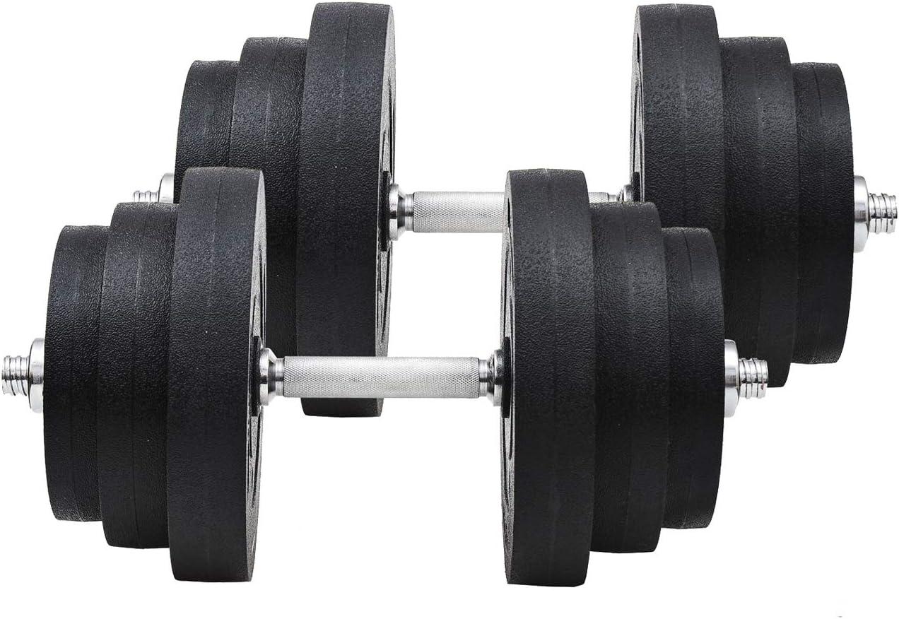 WANGYONGQI Juego de Mancuernas Fitness Pesas 40 KG Gimnasio doméstico Ajustable y Culturismo con Barra de Acero y Discos