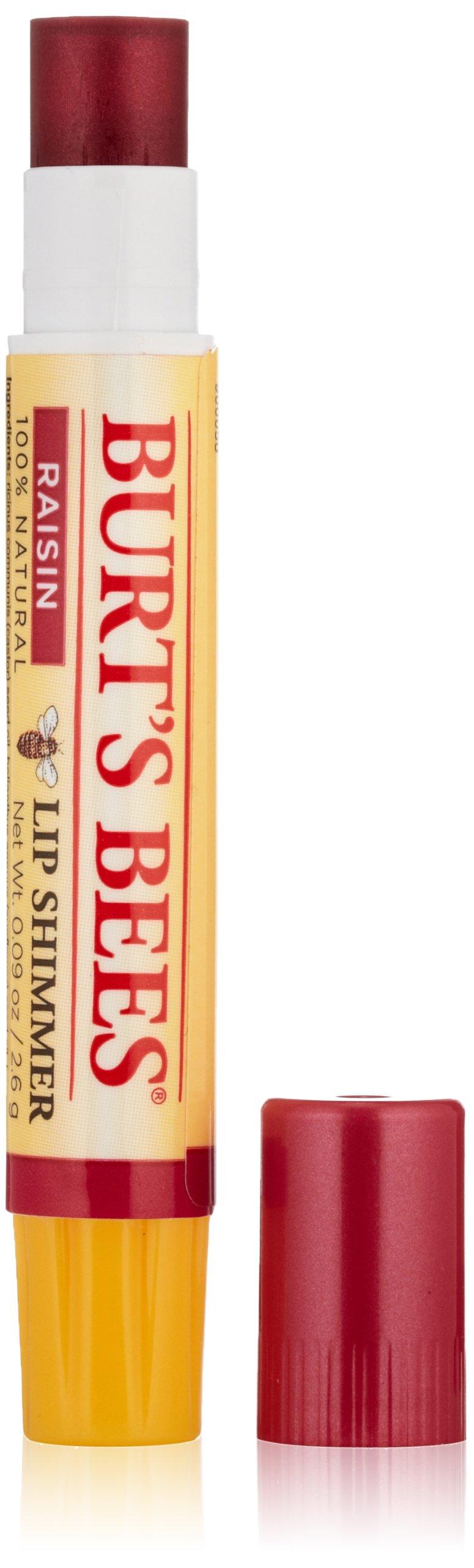 Burt's Bees 100% Natural Moisturizing Lip Shimmer, Raisin - 4 Tubes