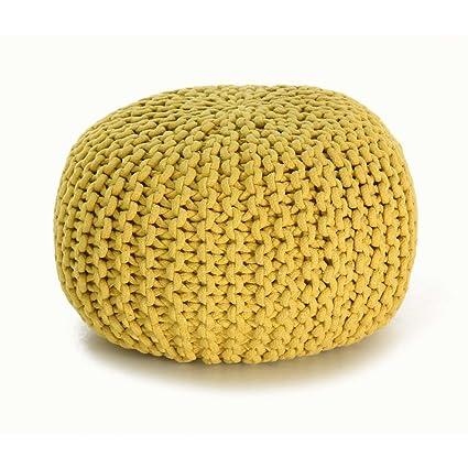 Zago Stitch - Puff redondo de crochet, color amarillo: Amazon.es: Hogar