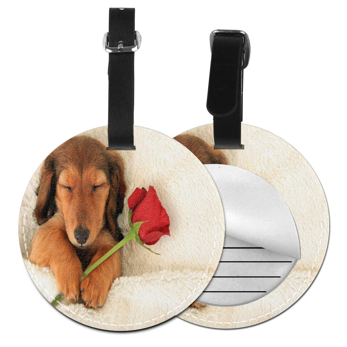 Dog Sleeping On Valentine's Day Luggage Tags Travel Bag ID Suitcase Labels for Women Men 4 Pack by Rachel Dora