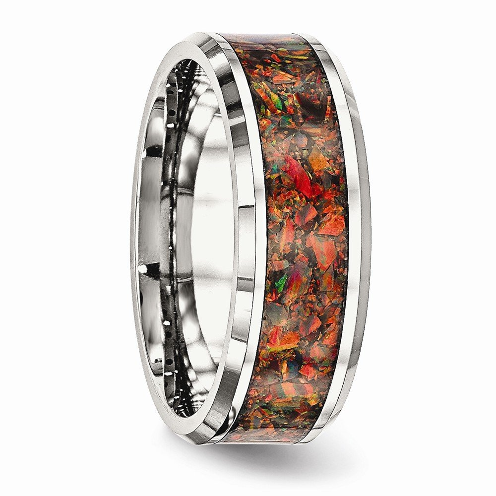 Bridal Wedding Bands Decorative Bands Stainless Steel Polished with Red Imitation Opal 8mm Mens Ring Size 10