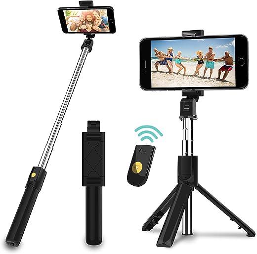SYOSIN Selfie Stick Stativ, 3 in 1 Mini Selfiestick mit Bluetooth-Fernauslöse Handy Erweiterbarer Selfie-Stange und Tragbar Monopod Handyhalter für…