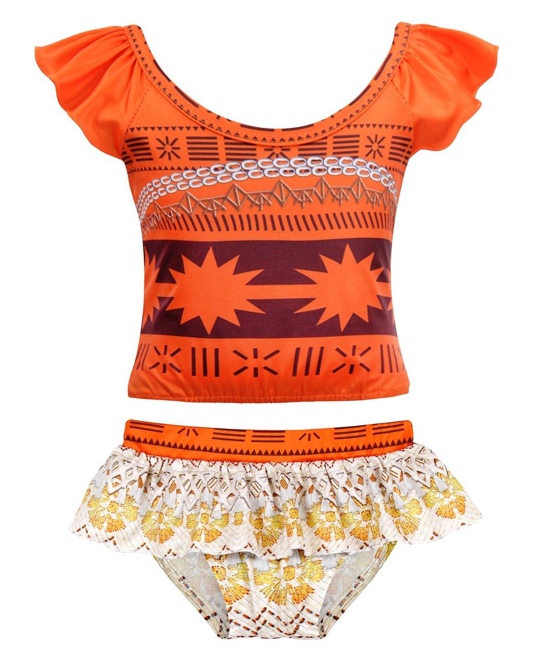 AmzBarley Little Girls Moana 2-Pieces Swimsuit Toddler Swimwear Swimming Suit Age 2-3 Years Size 3T by AmzBarley