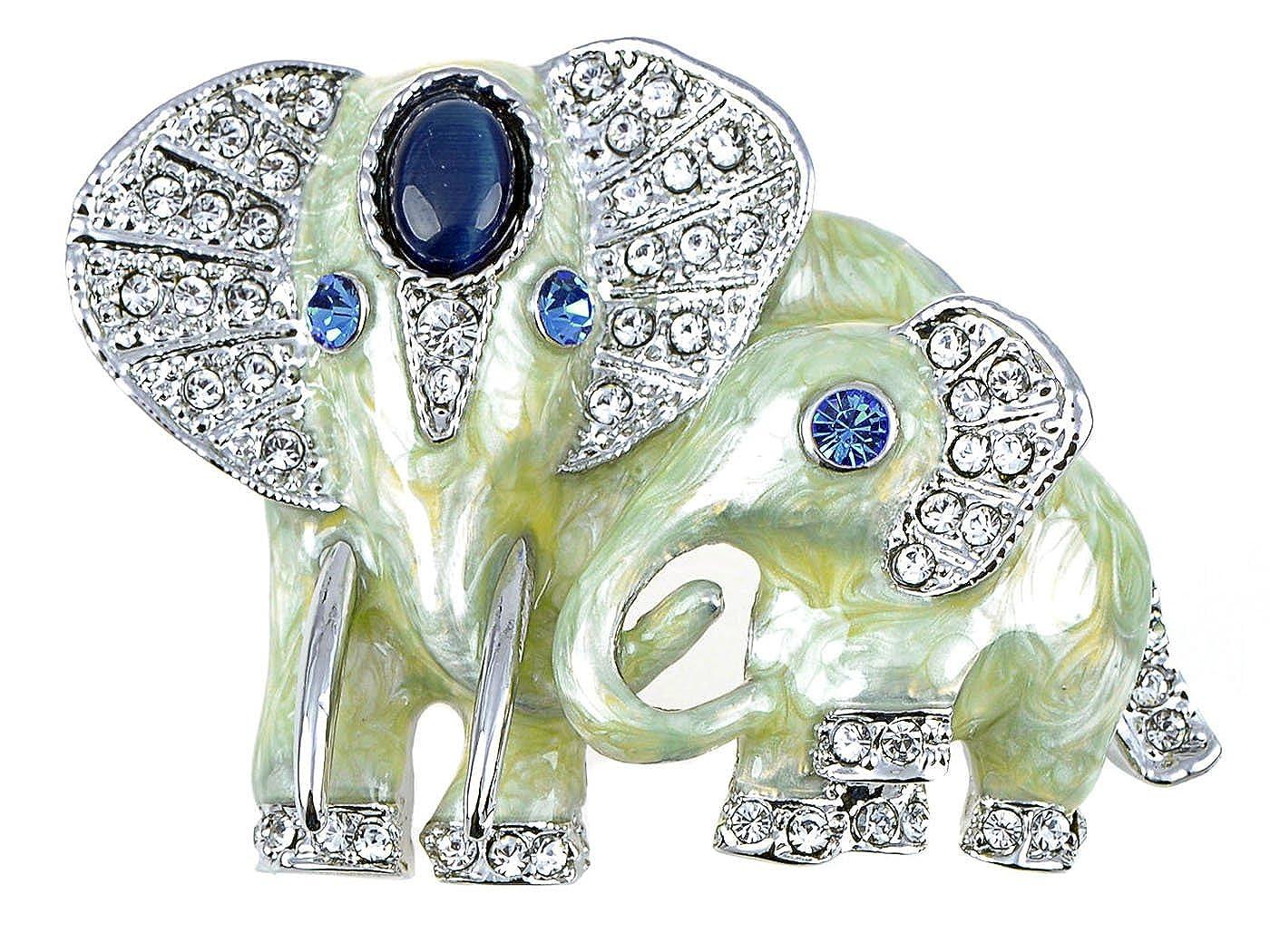 Alilang Fabriqué avec des éléments de cristal Swarovski saphir yeux Peinture nacrée Broche en forme d'éléphants B1221