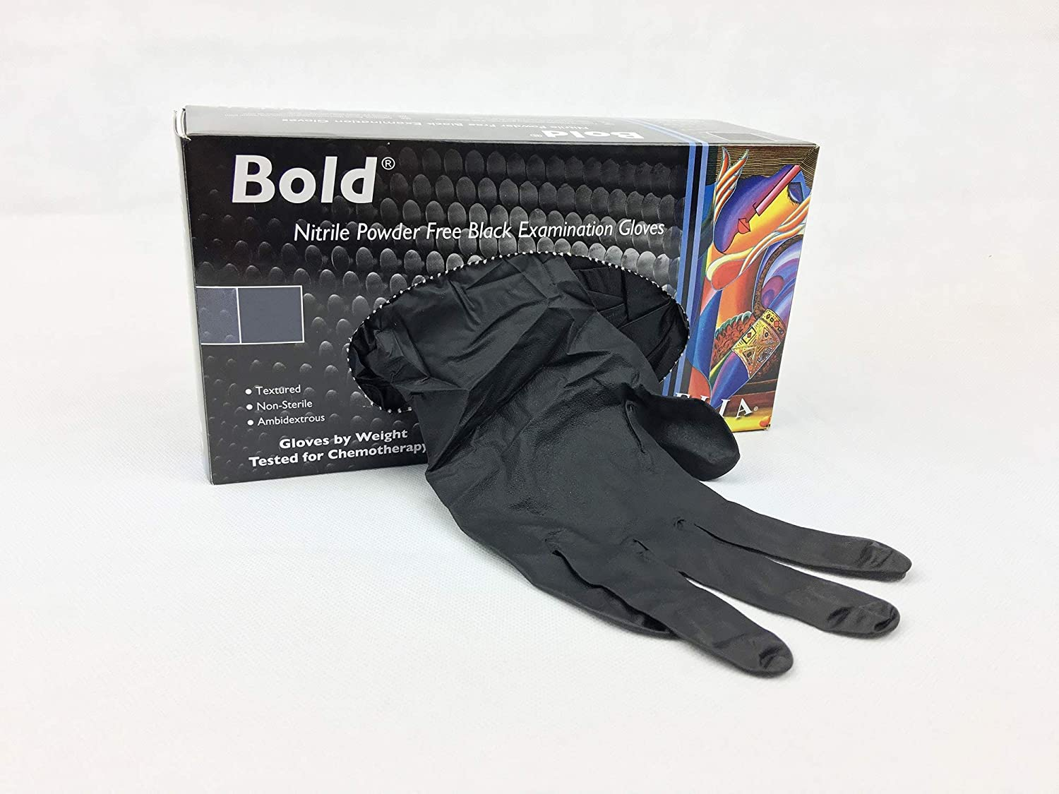 Box of 100 Gloves 2X Bold Nitrile Powder-Free Examination Gloves Medium