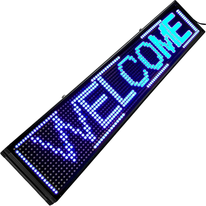 VEVOR Signe de D/éfilement LED Signe Blanc10mm LED Signe Lumineux 101x20cm LED Panneau dAffichage Num/érique Scroll Programmable Panneau dAffichage Enseigne