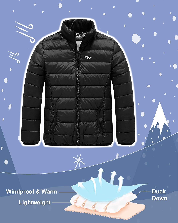 Wantdo Boys Lightweight Down Jacket Packable Stand Collar Outwear