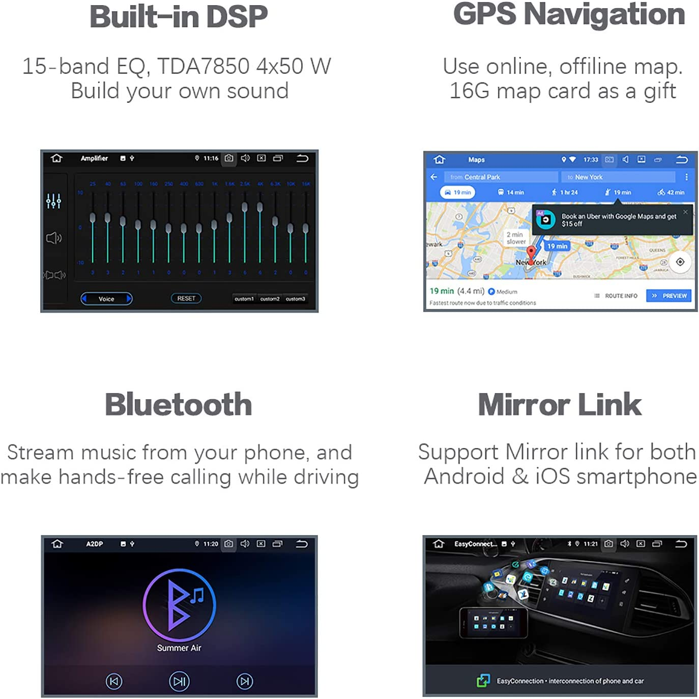 Radio with GPS Navigation 4G Ram 64G ROM Built in DSP Dash Kit GPS Meomery Card Dasaita 10 inch Large Screen Single Din Android 10.0 Car Stereo for Toyota Tundra 2007 to 2013 and Sequoia 2008 to 2018